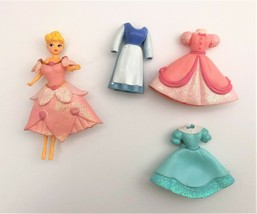 Disney Princess Polly Pocket Style Doll & 4 Dress Set Cinderella  - $7.84