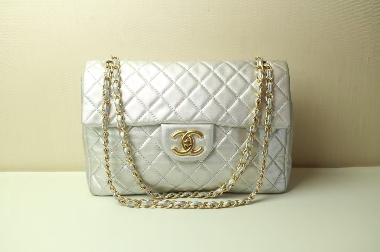 7471e47db329 AUTHENTIC CHANEL Silver Quilted Lambskin Leather Maxi Jumbo XL Flap ...