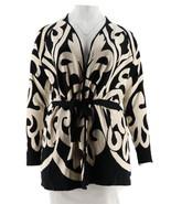 Isaac Mizrahi Adobe Desplazado Jacquard Jersey Abrigo Negro XXS Nuevo A2... - $66.26