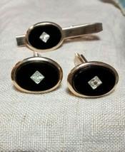 Vintage Black Onyx Diamond Cut Illusion Centers Goldtone Cufflinks and T... - $18.69