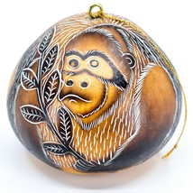 Handcrafted Carved Gourd Art Gorilla Zoo Animal Ornament Made in Peru image 1