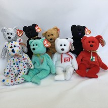 8 Ty Beanie Babies Teddy Bears Lot With Tags Maple The Beginning End Ari... - $16.44