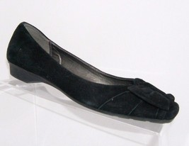 Liz Claiborne 'Piper' black square toe leather ribbon scalloped wedge heels 7.5M - $17.77