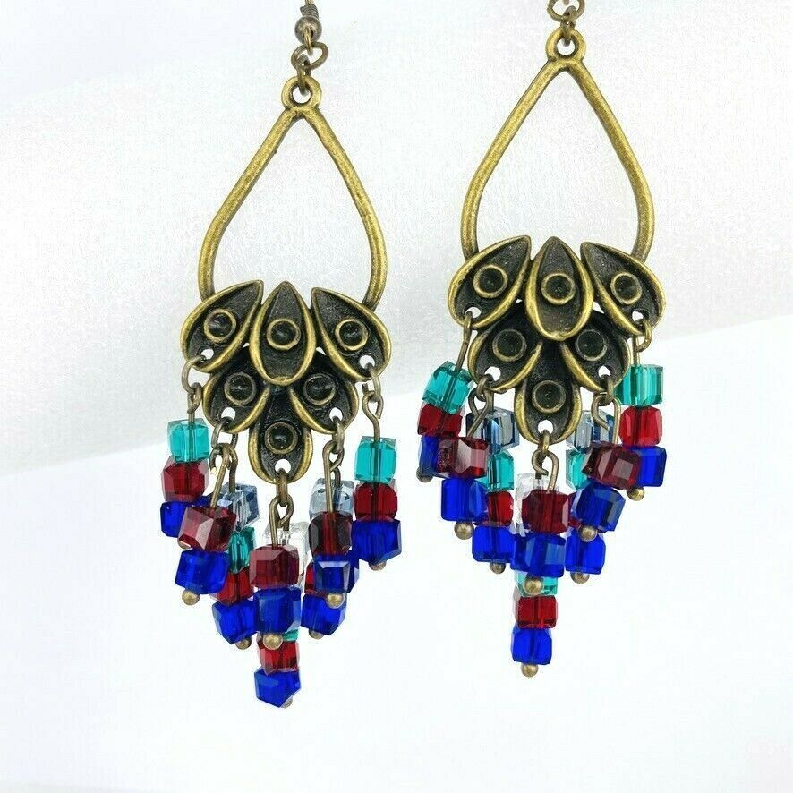 Primary image for Cluster Crystal Drop Dangle Earrings Red Blue Green Antique Gold Tone Chandelier