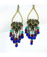 Cluster Crystal Drop Dangle Earrings Red Blue Green Antique Gold Tone Ch... - $29.69