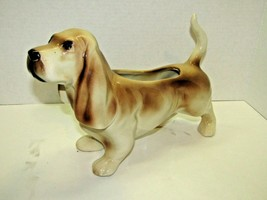 Vintage Puppy Ceramic Basset Hound Large Dog Planter Heavy Pottery For P... - $34.65