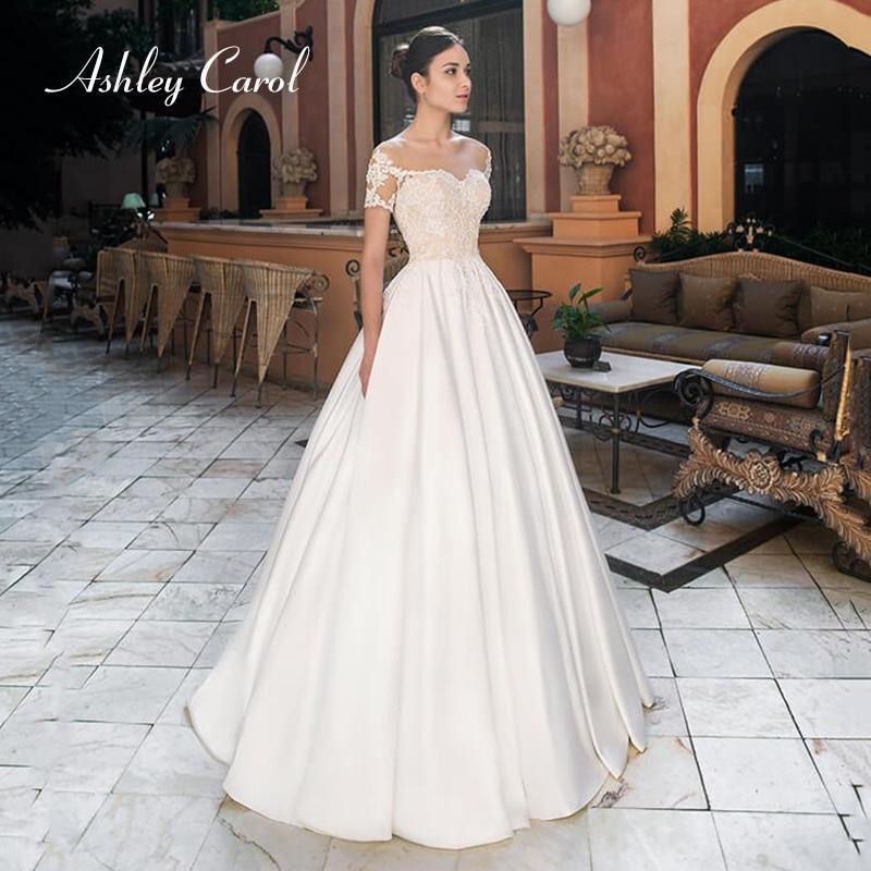 Simple Wedding Dresses Boat Neck: Satin A-Line Simple Boat Neck Cap Sleeve Lace Court Train