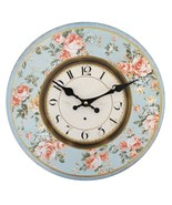 MDF Shabby Chic Peach Rose With Blue Background Wall Clock; 42613 - $18.90