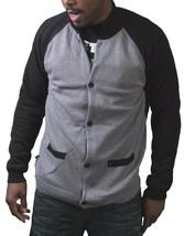 Kr3w Mens Grey Black Cotton Bridgeton Knit Button Down Cardigan Winter Sweater