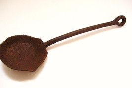 Antique Primitive Hand Forged Iron Ladle Dipper Circa 1870 13 Inches Long - $44.99
