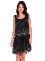 Black Beaded Sequin Gatsby Roaring 20s style deco Dress Flapper Scallop ... - $150.00