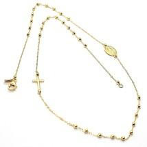 Mini Collar Rosario Oro Amarillo 750 18K, Medalla Milagrosa y Cruz Later... - $300.05