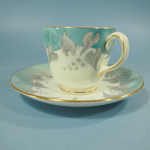 "Wedgwood Buxton Cup & Saucer 2 3/4"" ~Turquoise With Gold Trim - $13.85"