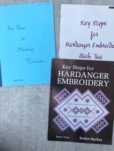 Key Steps for Hardanger Embroidery Pattern Books 1, 2, & 3 Lot Evelyn Ma... - $67.32