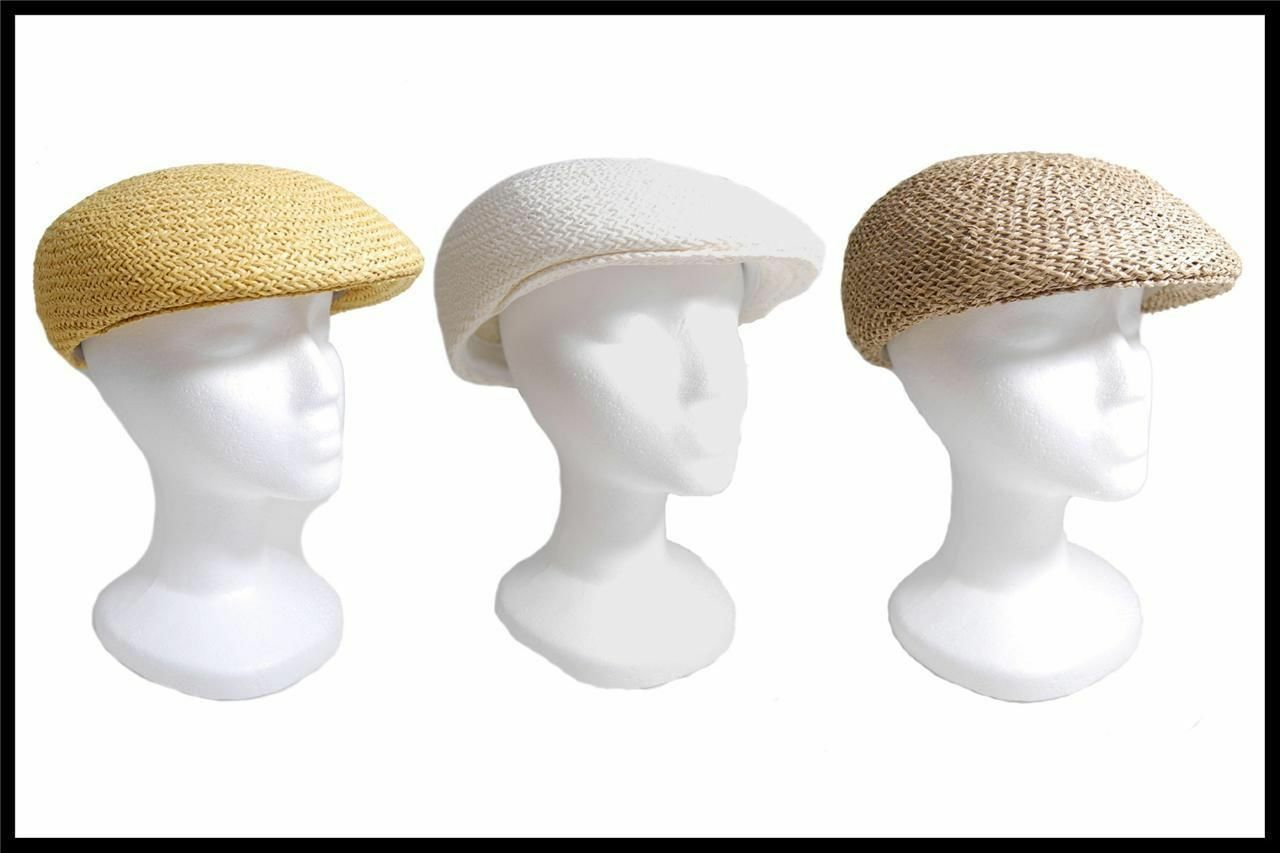 NEW Dorfman Pacific Company Straw Type Summer Hat All Natural Fibers Tan, White