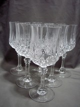 "Set Of 6 Cristal D'arques Longchamp Clear 7-1/4"" Water Goblets Wine Glasses - $18.00"