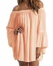 Women's Sexy Off Shoulder Chiffon Boho Ruffle Sleeve Blouse Mini Dress - $39.95