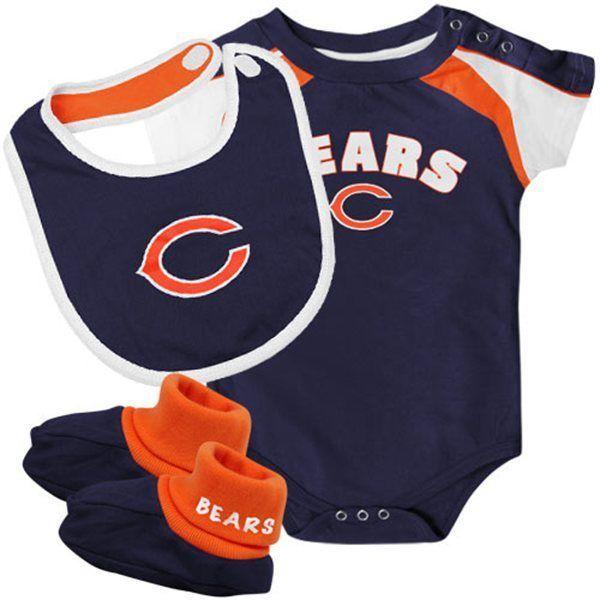 12M Infant Chicago Bears Creeper Set 3 piece Bodysuit Bib Booties NFL Baby Navy