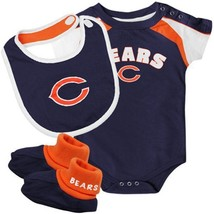 12M Infant Chicago Bears Creeper Set 3 piece Bodysuit Bib Booties NFL Baby Navy