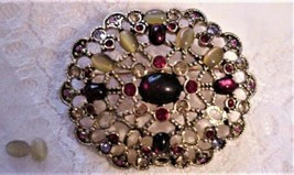 Gorgeous! Vintage Cranberry MONET Brooch Pin Rhinestone Cabochons - $39.95