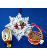 Hand Made Christmas Tree Ornaments 3 Basket Lace Star Angel With Bell - $16.00