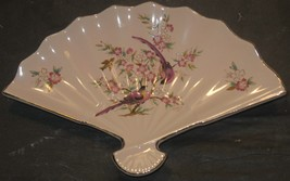 Vtg Porcelain Floral Birds Design Small Fan Dish Bowl Trinket Change Key... - $18.81