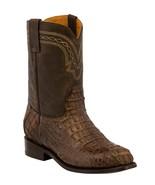 Mens Brown Western Boots Crocodile Hornback Skin Real Leather Cowboy Roper - €236,23 EUR