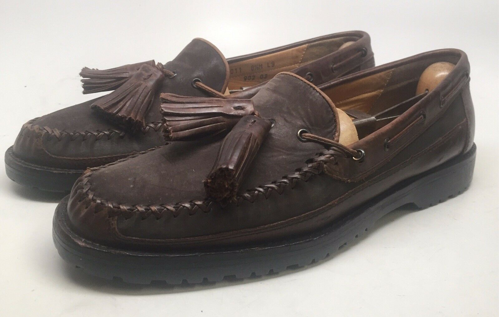 d51e54187a3 S l1600. S l1600. Previous. COLE HAAN Men Brown Leather Suede Dress Casual  Slip On Tassel Loafers Size ...