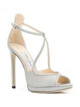 NEW JIMMY CHOO Fawne Glittered Leather Platform Sandals (Size 40) - $895 - $299.95