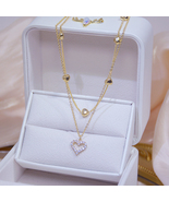 14k Real Gold Double layer Heart Necklace Shining Bling AAA Zircon Women... - $13.00
