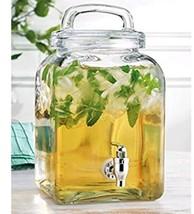 Elegant Home Square Beverage Drink Dispenser Glass 1.32 Gallon Loop Lid - $29.69
