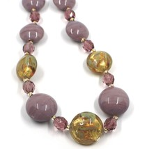 """NECKLACE PURPLE YELLOW MURANO GLASS DISC & GOLD LEAF, MADE IN ITALY, 50cm, 20"""" image 2"""