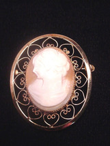 Gold Filled Cameo Pin Catamore Heart Frame Carved Shell Cameo 1960'S - $24.75