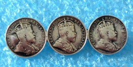 VINTAGE STERLING SILVER GEORGE Vll CANADA 5 CENTS 3 COINS PIN 1902 (H) 1907 - $29.69
