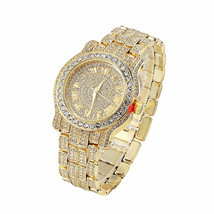 AVENTURA Pave Crystal 14K Gold  PlatedBling Lab Crystal King Rapper Watc... - $20.15 CAD
