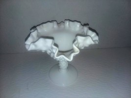 Fenton Hobnail Milk Glass Compote Crimped Ruffled Rim Comport Vase Candy... - $5.93