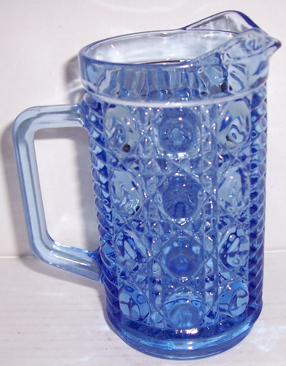 Vintage Designed Pressed Indiana Glass Creamer Serene Blue Color Collectible Mil