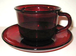 Vintage Circa 1960's Arcoroc (1) Ruby Red Glass Cup & Saucer Set Made In... - $19.99