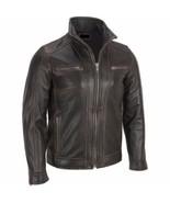Men's Black Leather Jacket Distressed Biker Moro Size S M L XL XXL Custo... - $168.00