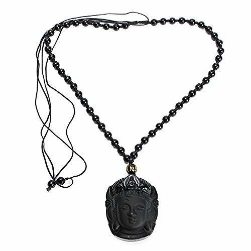 YGS Lucky Buddha Pendant Natural Obsidian Black Carved Necklace - 1 x Random Col