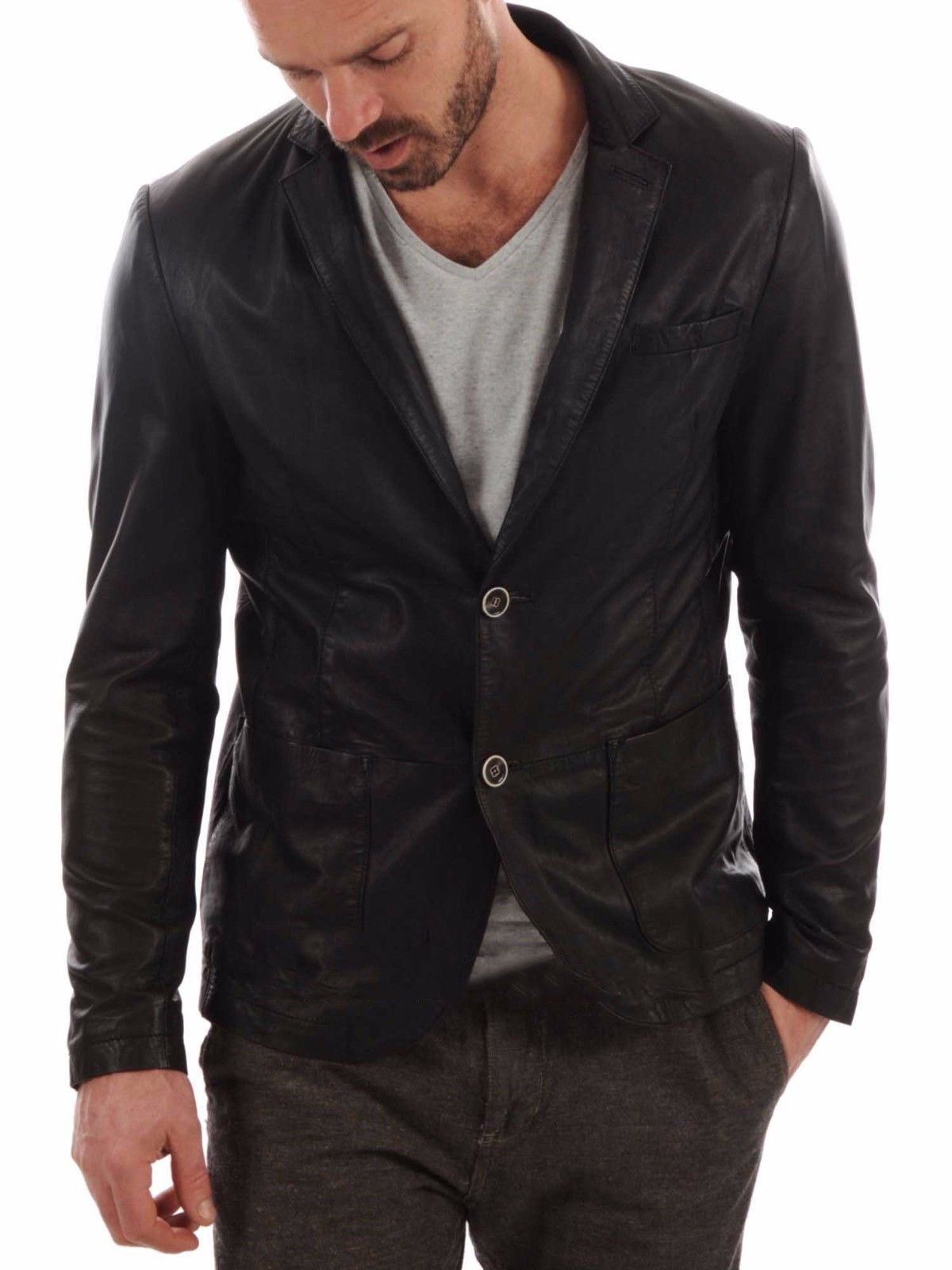 New Men's Genuine Lambskin Real Leather Blazer Jacket Slim Fit Coat Jacket - $119.99
