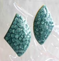 Art Moderne Textured Blue Enamel Gold-tone Pierced Earrings 1980s vintag... - $12.30