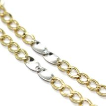 Bracelet Yellow and White Gold 18K 750, Curb and Double Ovals Alternating, 3 MM image 3