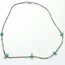 Silver & turquoise choker necklace Z31 - $24.55