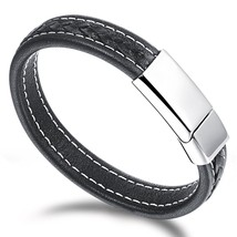 Leather Men's Bangle Cuff Bracelet With Stainless Steel Magnetic Clasp - $19.99