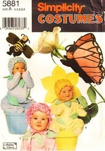 Simplicity 5881 or 7868 Toddler Butterfly Bumble Bee Flowers Costume Hal... - $9.79