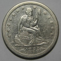 1855 Seated Liberty Silver Quarter Coin Lot# MZ 4331