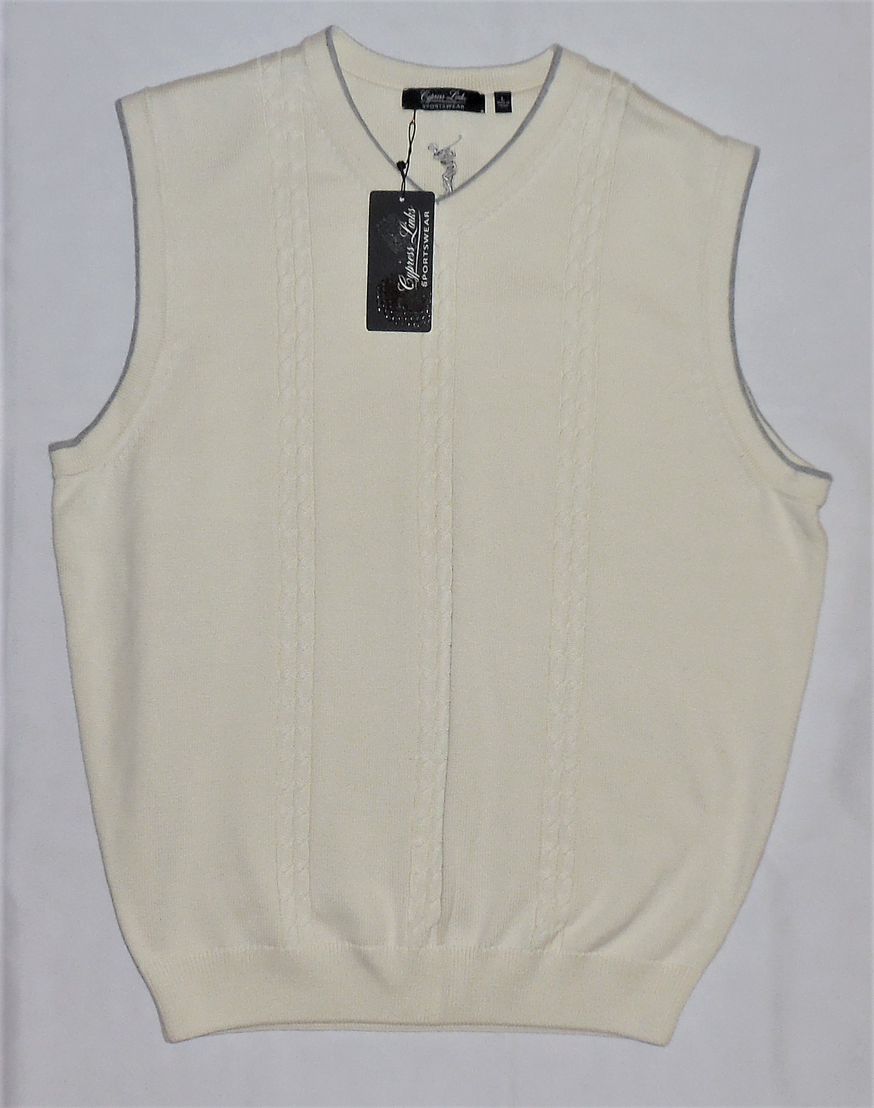 CYPRESS LINKS Cable Knit Cream Sweater Vest Large Golf Attire Sportswear LARGE image 7