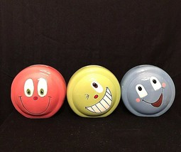 HAPPY FACE COIN BANKS, Set of 3,Red Smiley, Green Winkie & Blue Smiley, ... - $14.85