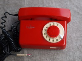 Vintage Soviet Poland Rotary Dial Phone TULIPAN Red Nice Color - $39.59